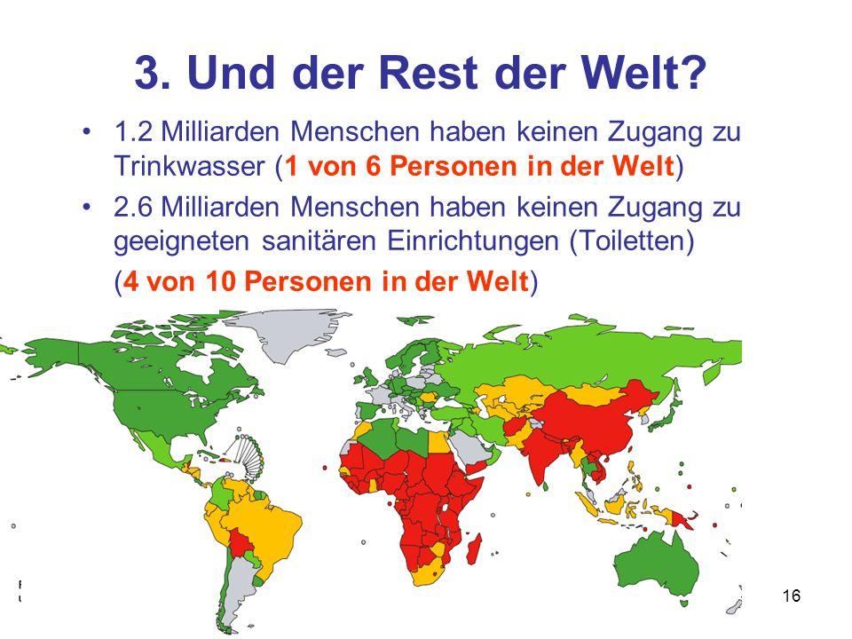 3. Und der Rest der Welt 1.2 Milliarden Menschen haben keinen Zugang zu Trinkwasser (1 von 6 Personen in der Welt)