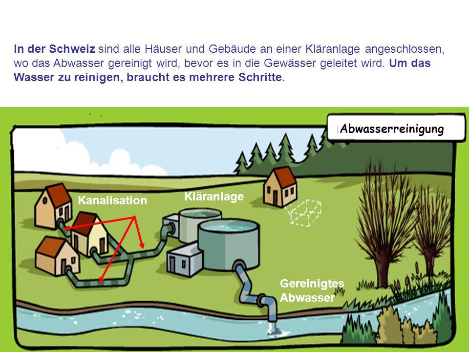 In der Schweiz sind alle Häuser und Gebäude an einer Kläranlage angeschlossen, wo das Abwasser gereinigt wird, bevor es in die Gewässer geleitet wird. Um das Wasser zu reinigen, braucht es mehrere Schritte.