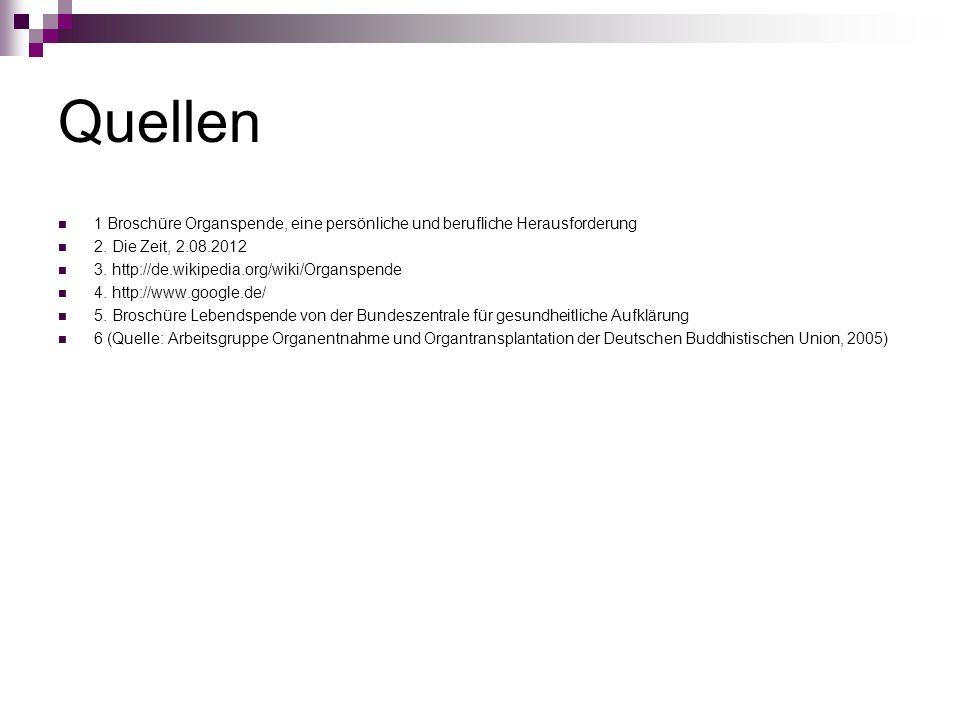 Quellen 1 Broschüre Organspende, eine persönliche und berufliche Herausforderung. 2. Die Zeit, 2.08.2012.