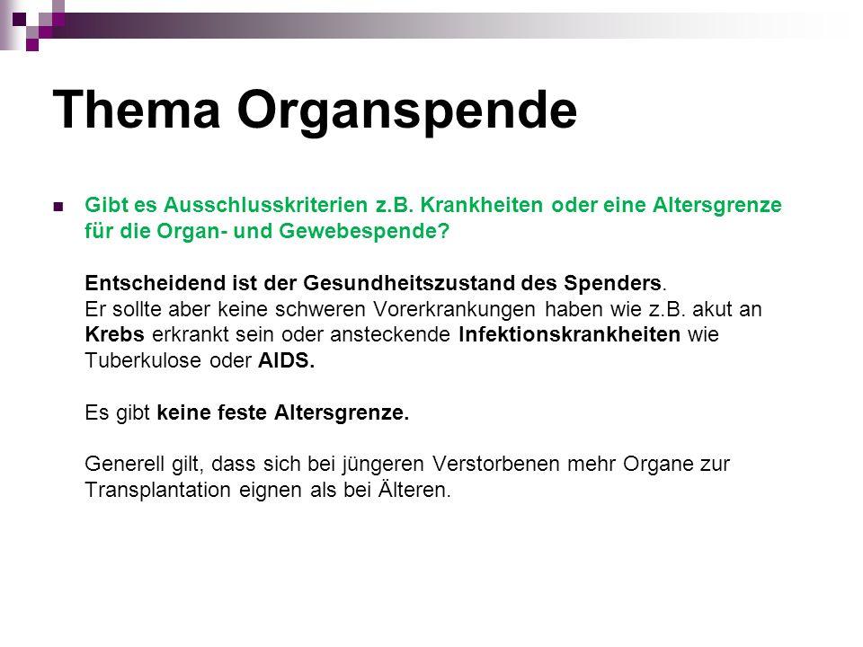 Thema Organspende