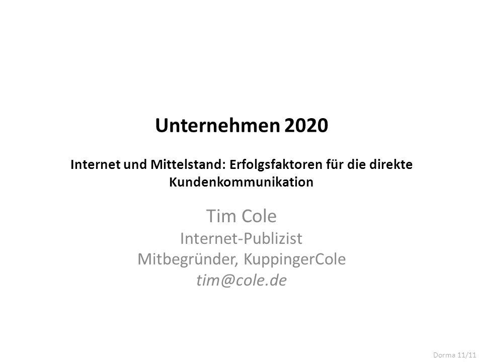 Tim Cole Internet-Publizist Mitbegründer, KuppingerCole tim@cole.de