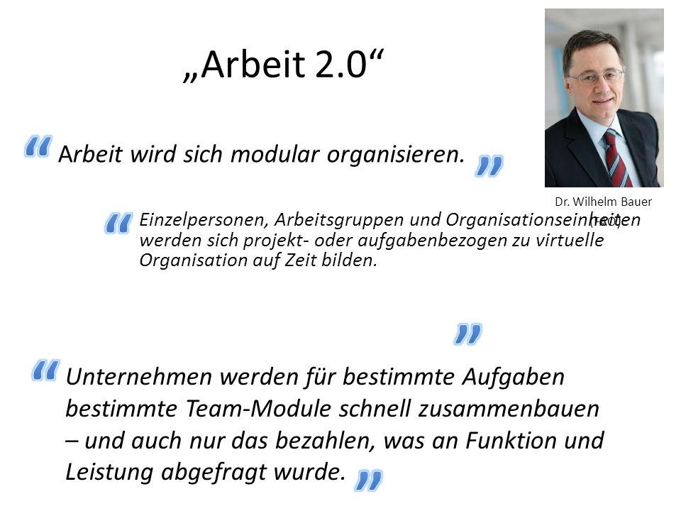 """""""Arbeit 2.0 Arbeit wird sich modular organisieren."""
