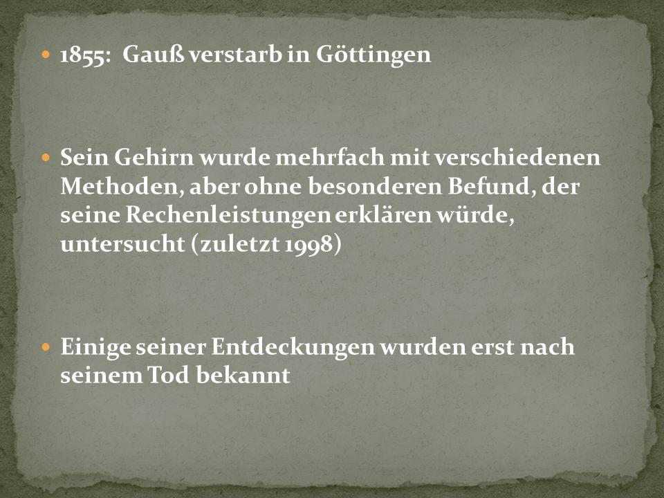 1855: Gauß verstarb in Göttingen