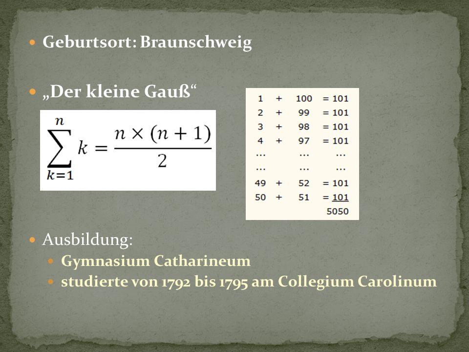 """""""Der kleine Gauß Geburtsort: Braunschweig Ausbildung:"""