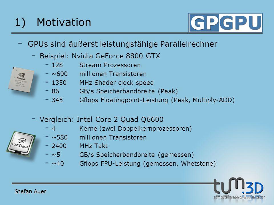 Motivation Vergleich der Floatingpointleistung Stefan Auer