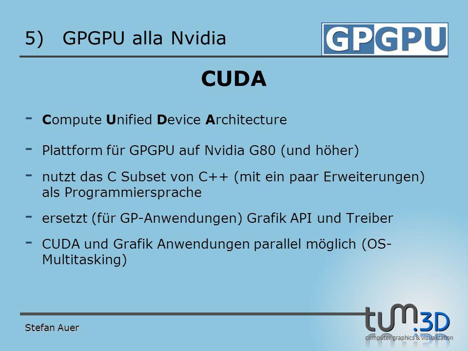 CUDA Software Stack GPGPU alla Nvidia Anwendung CPU (Host) GPU CUDA