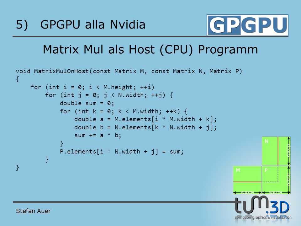 CUDA Matrix Mul: Hauptprogramm