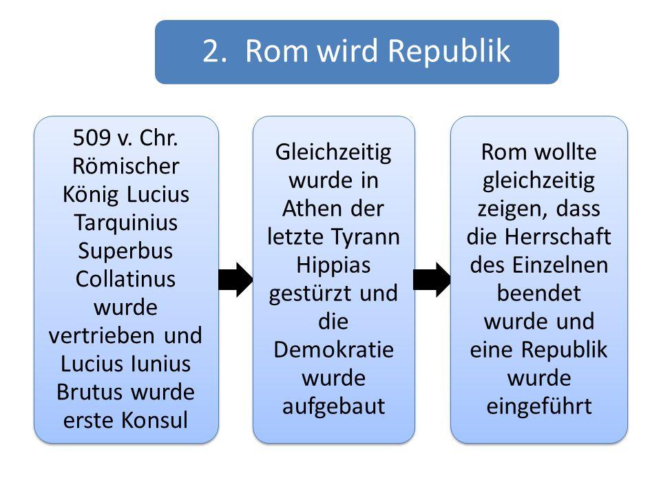 2. Rom wird Republik 509 v. Chr. Römischer König Lucius Tarquinius Superbus Collatinus wurde vertrieben und Lucius Iunius Brutus wurde erste Konsul.