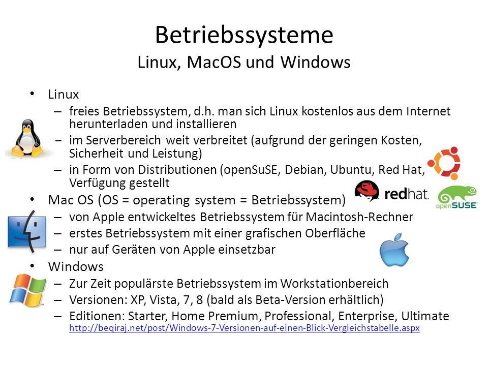 Betriebssysteme Linux, MacOS und Windows