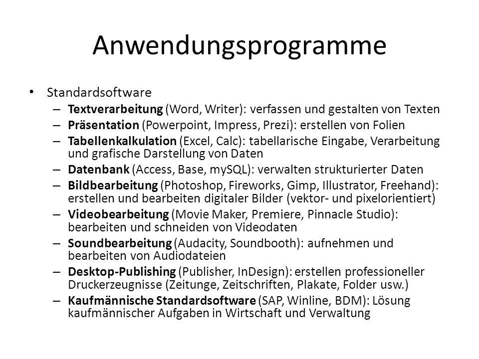 Anwendungsprogramme Standardsoftware