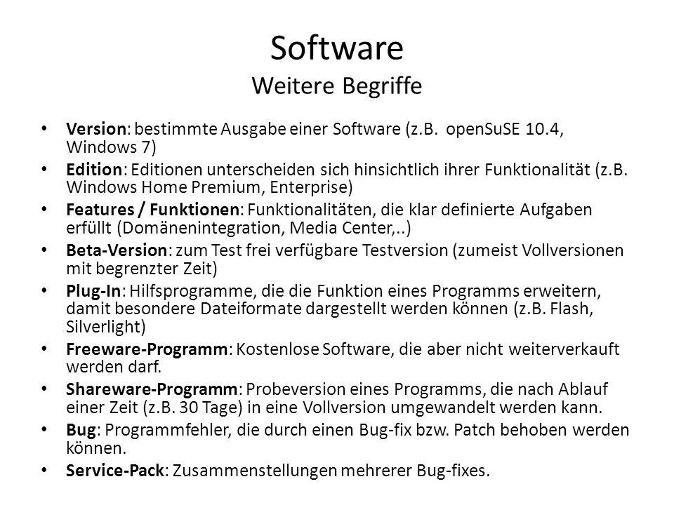 Software Weitere Begriffe