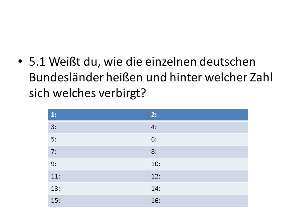5.1 Weißt du, wie die einzelnen deutschen Bundesländer heißen und hinter welcher Zahl sich welches verbirgt