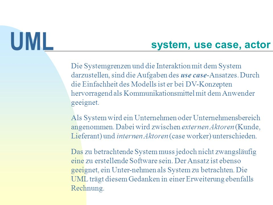 UML system, use case, actor