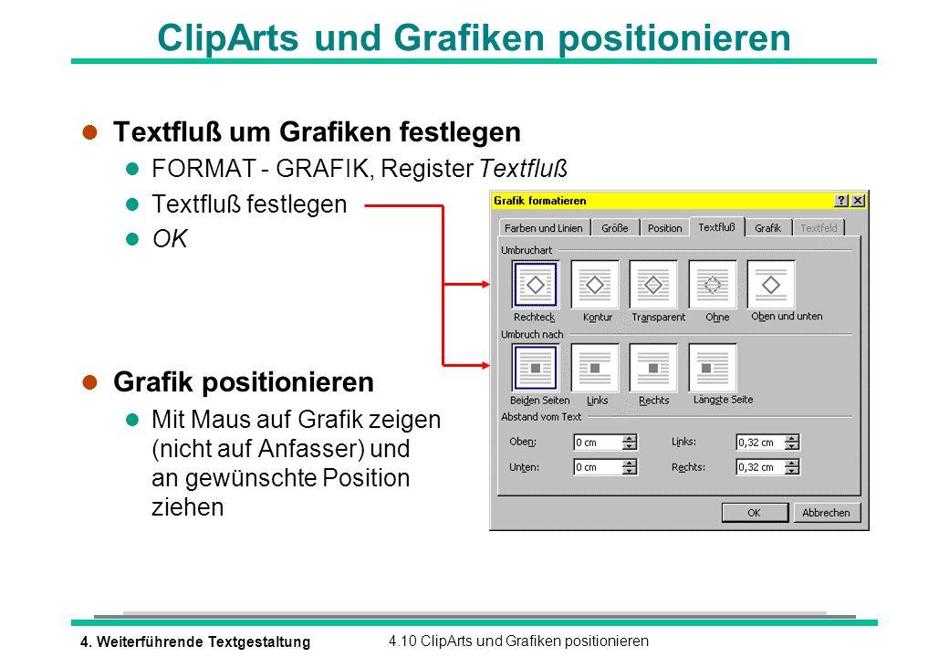 ClipArts und Grafiken positionieren