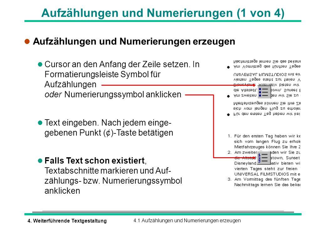 Aufzählungen und Numerierungen (1 von 4)
