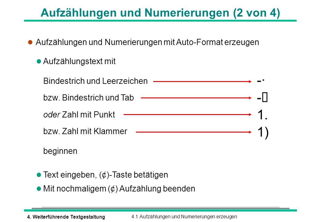 Aufzählungen und Numerierungen (2 von 4)