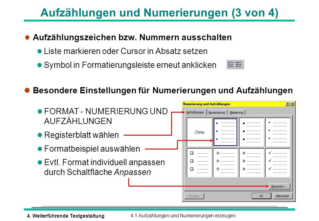 Aufzählungen und Numerierungen (3 von 4)