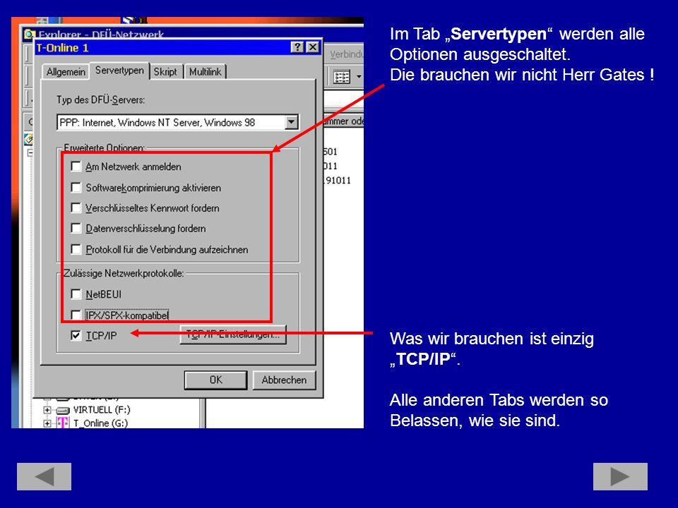 """Im Tab """"Servertypen werden alle"""