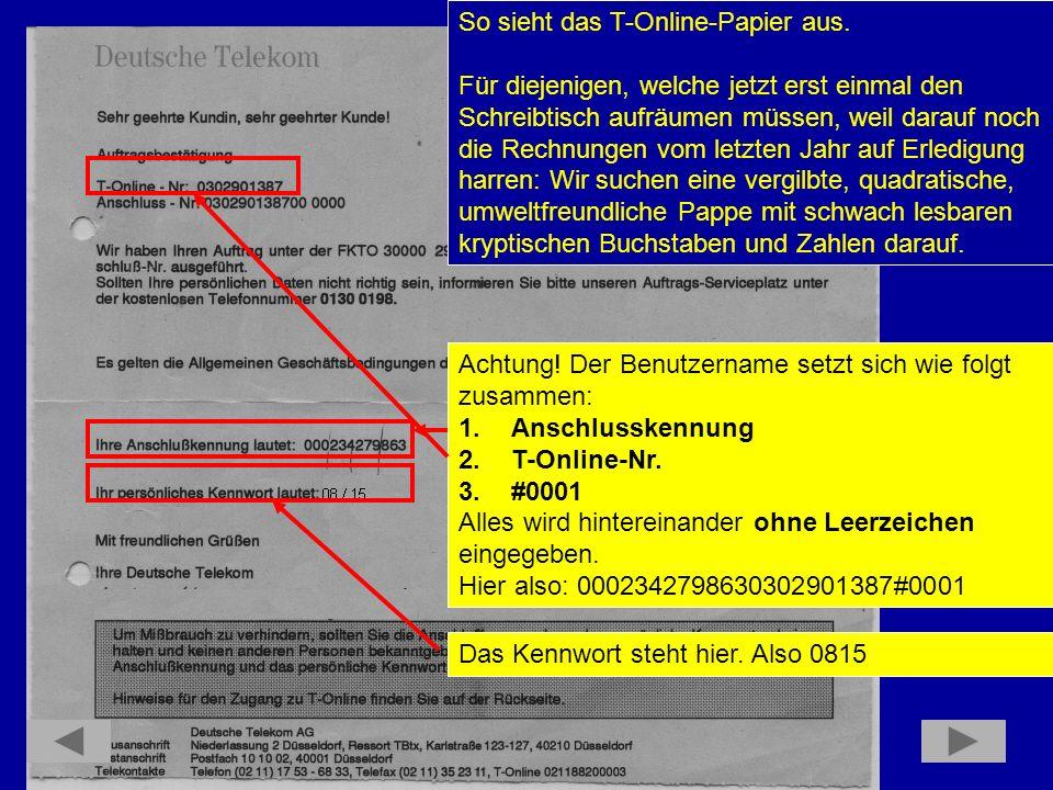 So sieht das T-Online-Papier aus.