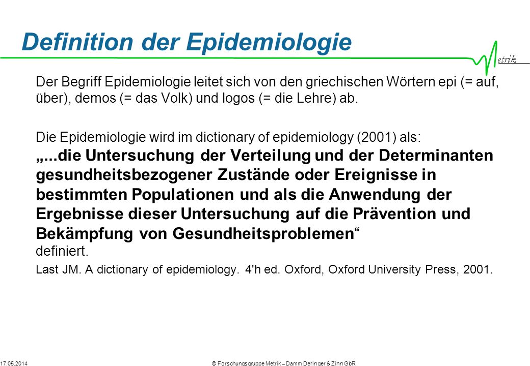 Definition der Epidemiologie