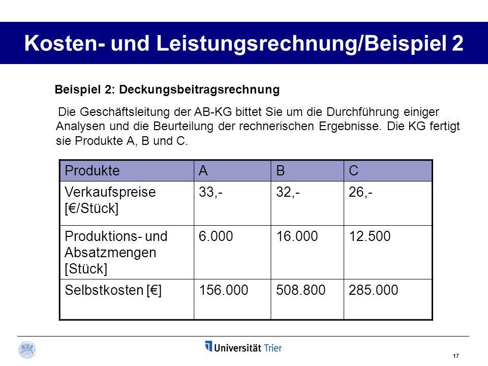 Kosten- und Leistungsrechnung/Beispiel 2