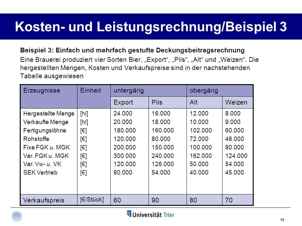 Kosten- und Leistungsrechnung/Beispiel 3