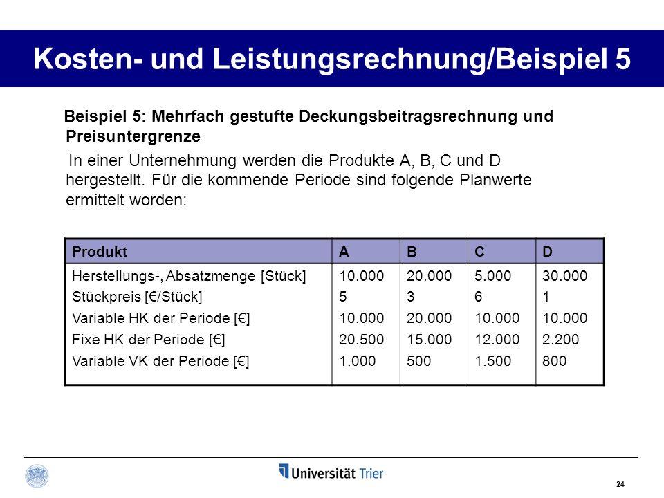 Kosten- und Leistungsrechnung/Beispiel 5