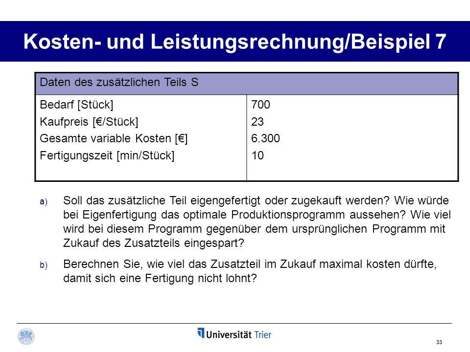 Kosten- und Leistungsrechnung/Beispiel 7