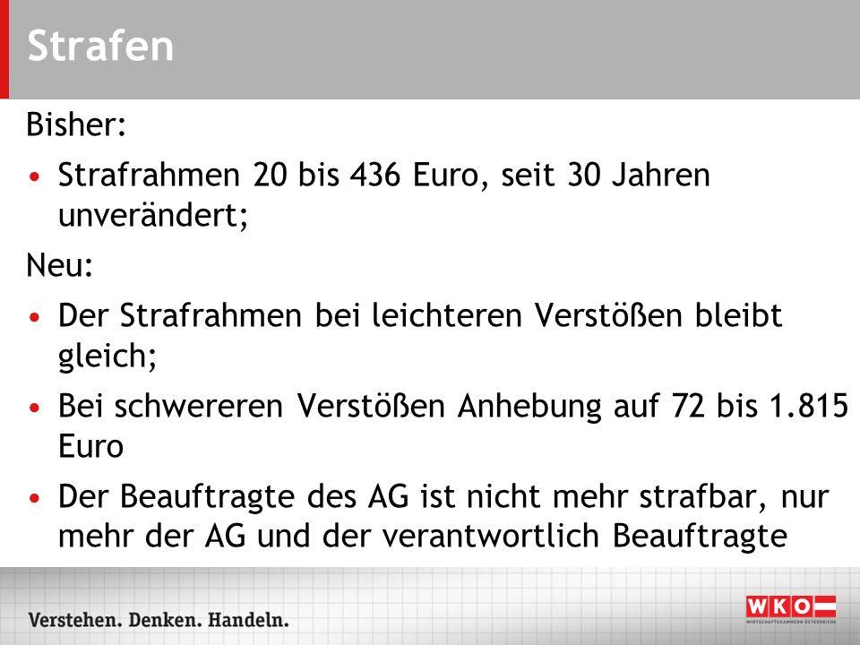 Strafen Bisher: Strafrahmen 20 bis 436 Euro, seit 30 Jahren unverändert; Neu: Der Strafrahmen bei leichteren Verstößen bleibt gleich;