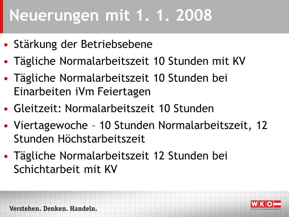 Neuerungen mit 1. 1. 2008 Stärkung der Betriebsebene