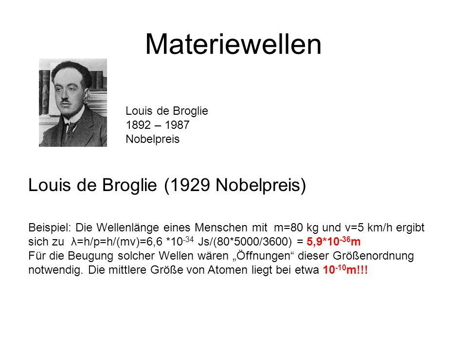 Materiewellen Louis de Broglie (1929 Nobelpreis) Louis de Broglie