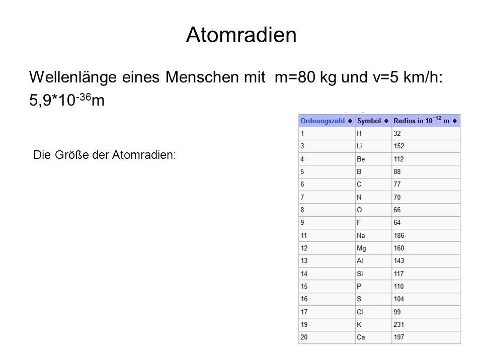 Atomradien Wellenlänge eines Menschen mit m=80 kg und v=5 km/h:
