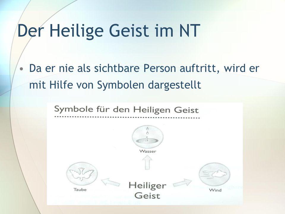 Der Heilige Geist im NT Da er nie als sichtbare Person auftritt, wird er mit Hilfe von Symbolen dargestellt.