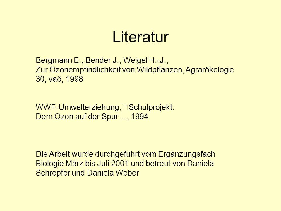 Literatur Bergmann E., Bender J., Weigel H.-J., Zur Ozonempfindlichkeit von Wildpflanzen, Agrarökologie 30, vaö, 1998.
