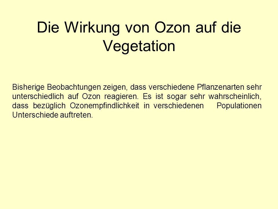Die Wirkung von Ozon auf die Vegetation