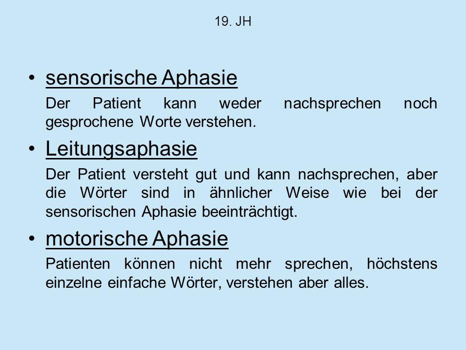 sensorische Aphasie Leitungsaphasie motorische Aphasie