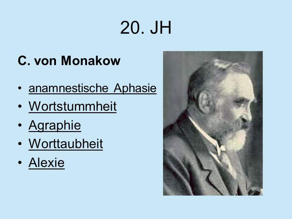 20. JH C. von Monakow Wortstummheit Agraphie Worttaubheit Alexie