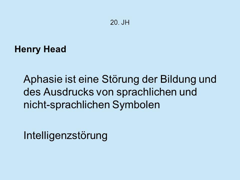 20. JH Henry Head. Aphasie ist eine Störung der Bildung und des Ausdrucks von sprachlichen und nicht-sprachlichen Symbolen.