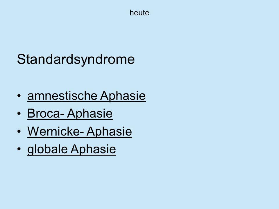 Standardsyndrome amnestische Aphasie Broca- Aphasie Wernicke- Aphasie