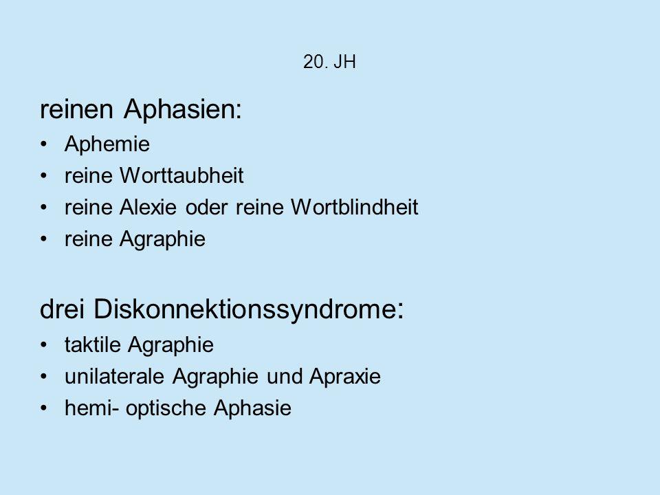 drei Diskonnektionssyndrome: