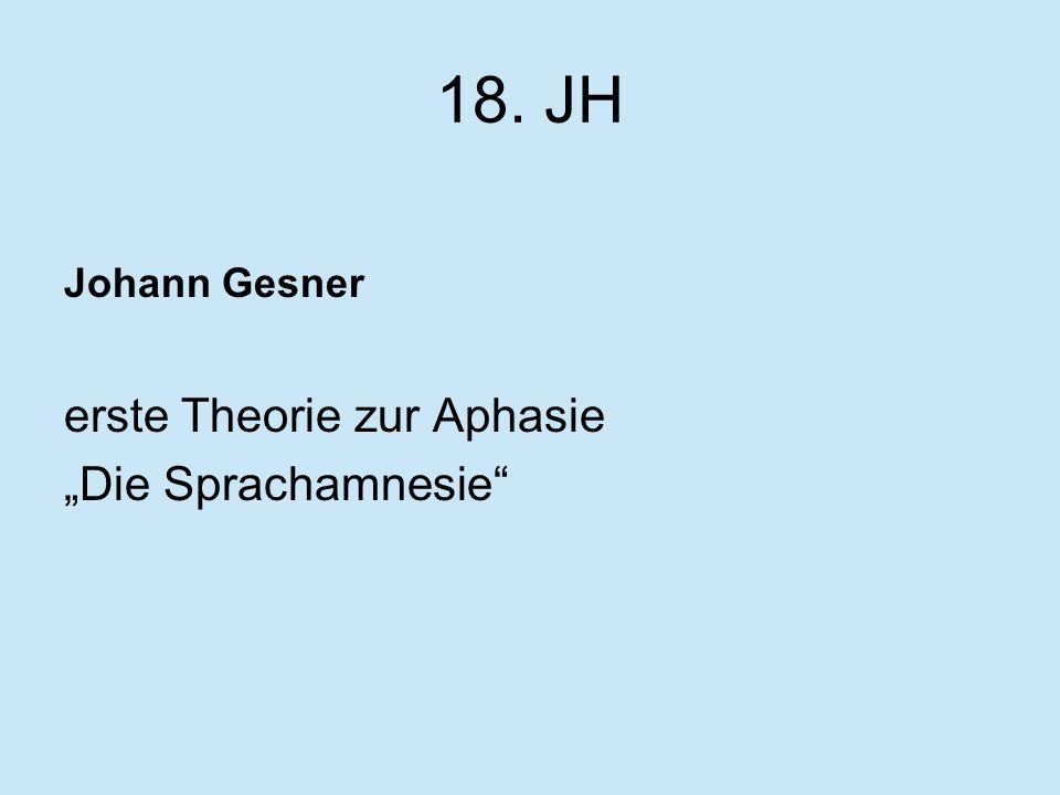 """18. JH Johann Gesner erste Theorie zur Aphasie """"Die Sprachamnesie"""