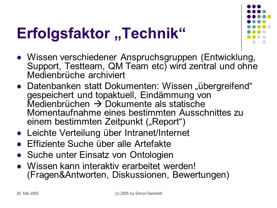 """Erfolgsfaktor """"Technik"""