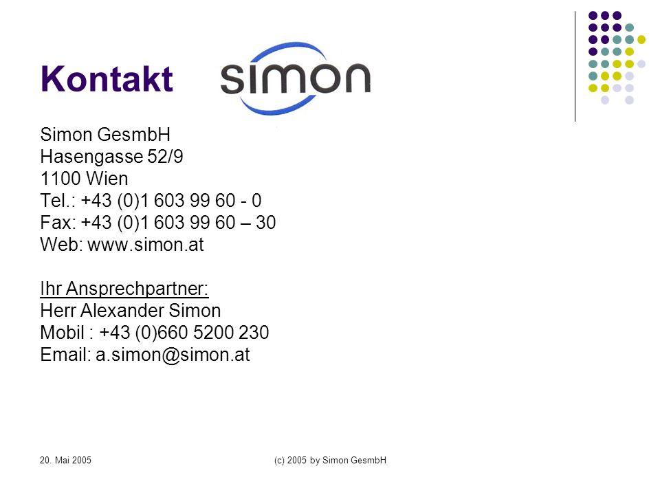 Kontakt Simon GesmbH Hasengasse 52/9 1100 Wien