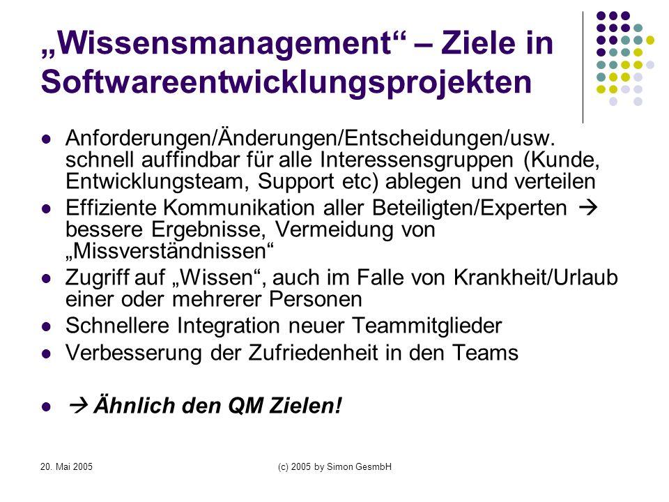 """""""Wissensmanagement – Ziele in Softwareentwicklungsprojekten"""