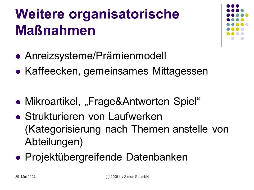 Weitere organisatorische Maßnahmen