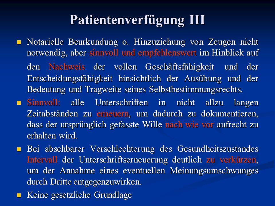 Patientenverfügung III