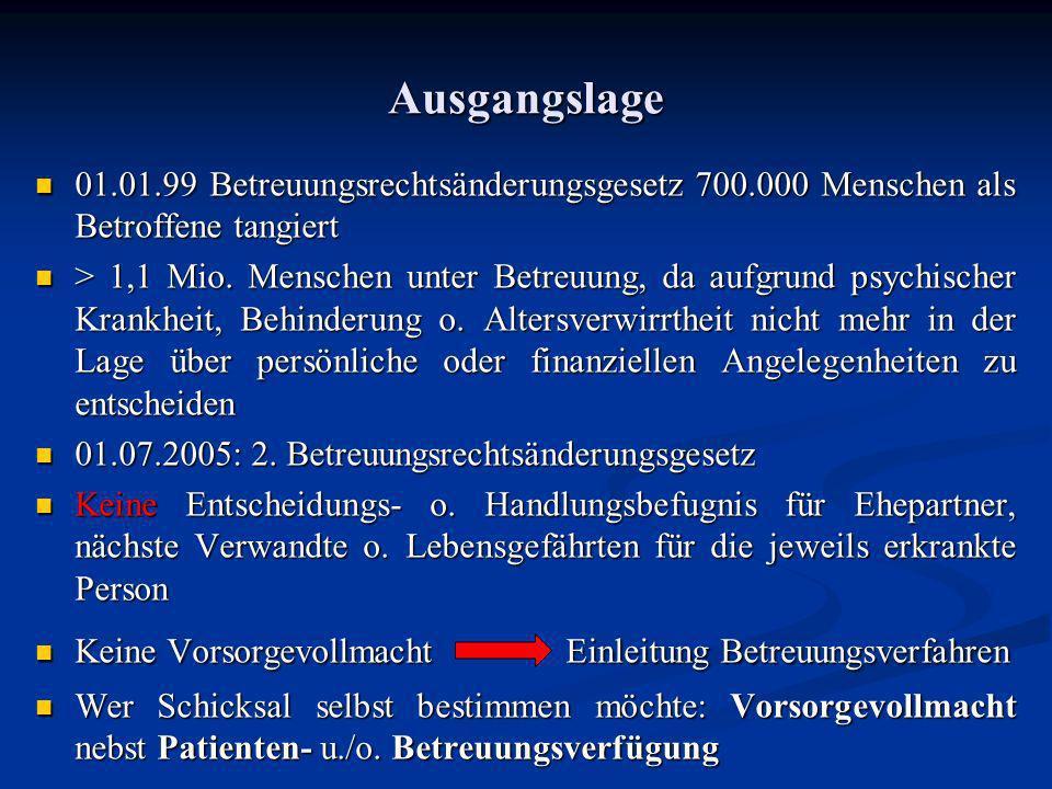Ausgangslage 01.01.99 Betreuungsrechtsänderungsgesetz 700.000 Menschen als Betroffene tangiert.