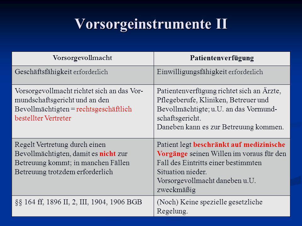 Vorsorgeinstrumente II