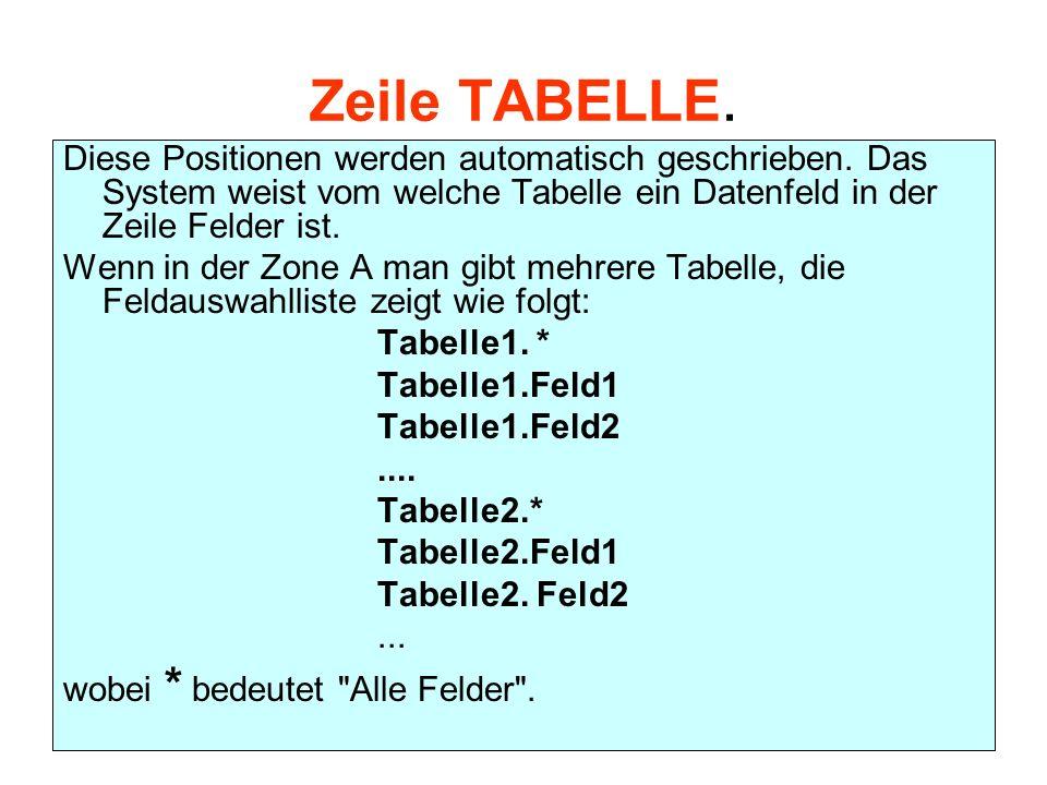 Zeile TABELLE. Diese Positionen werden automatisch geschrieben. Das System weist vom welche Tabelle ein Datenfeld in der Zeile Felder ist.