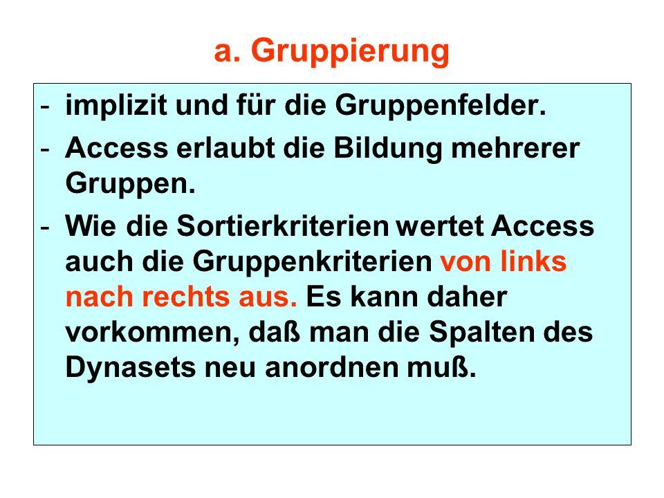 a. Gruppierung implizit und für die Gruppenfelder.